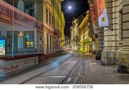 GRAZ, AUSTRIA - JULI 17, 2017: Street view of Herrengasse in Graz, Austria.Old town of Graz is the UNESCO World heritage.
