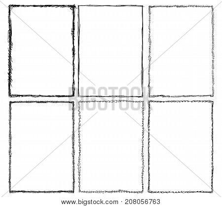 Set of various artistic sketchy frame designs.
