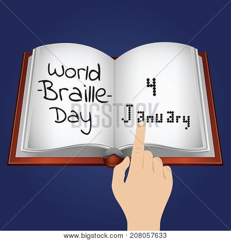 World Braille Day, 4 January. Open book in braille code conceptual illustration vector.