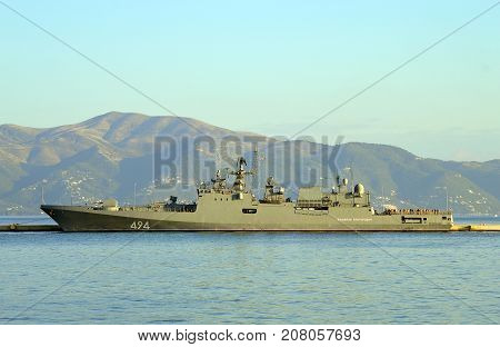 Corfu Greece - October 01 2017 : EU Naval Force flagship FS Siroco in Corfu harbour
