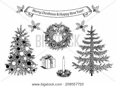 Hand drawn Christmas decorations for greeting card. Christmas trees. Ribbon banner with congratulation. Christmas wreath. Burning candle in christmas candlestick. Giftbox with bow. Holly berry. Vector eps10