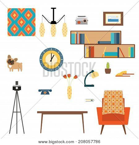 Living room interior elements collection with book shelves pattern vase flowers lamp dog clock telephone picture table armchair and camera on a tripod in the style of 70's.