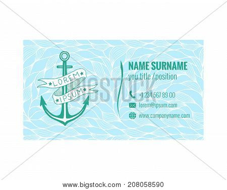 Business card template for yacht club, sea transport or travel agency. Nautical design. Corporate identity. Vector illustration eps10.