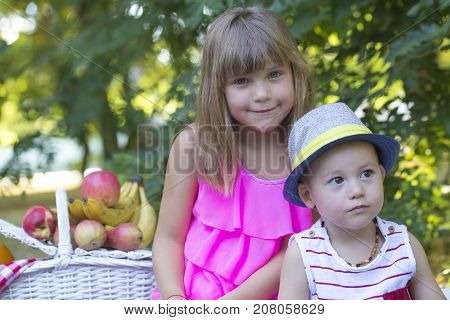 Little Brother And Sister  At The Picnic