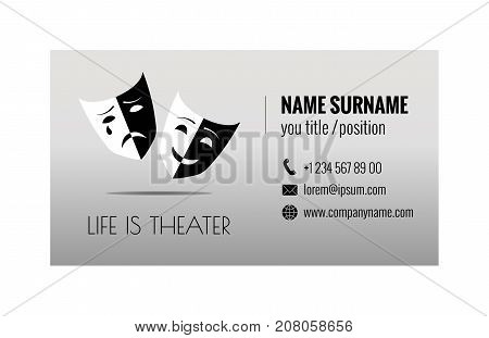 Business card template for ticket agency. Selling theater tickets. Corporate identity. Vector illustration eps10.
