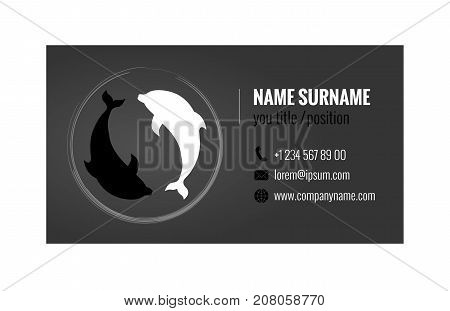 Business card template with Yin Yang Symbol. Corporate identity. Vector illustration eps10.