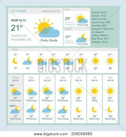 Weather forecast for web site. Weekly report. Vector illustration eps10.