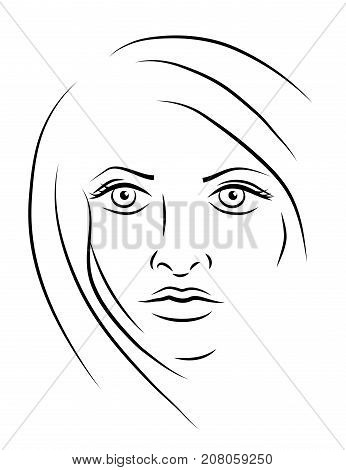 Portrait of beautiful aggressive daring brave woman. Sketch line vector illustration eps10.