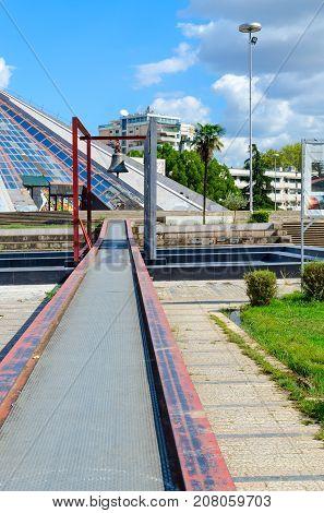 TIRANA ALBANIA - SEPTEMBER 6 2017: Monument