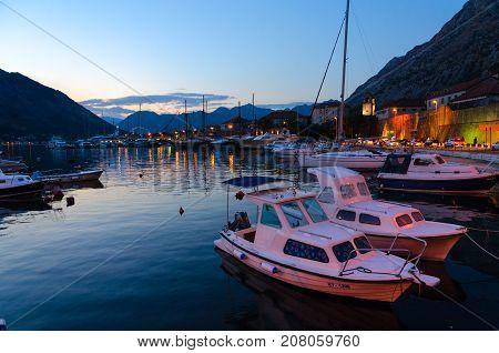 KOTOR MONTENEGRO - SEPTEMBER 8 2017: Beautiful evening view of Kotor and Bay of Kotor Montenegro