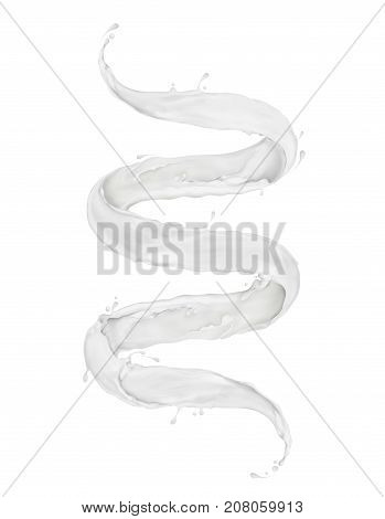 Milk splashes twisted in the shape of a spiral isolated on white background. 3d illustration
