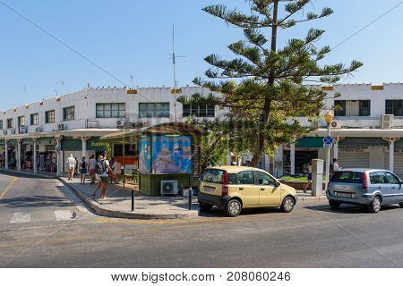 RHODES, GREECE - AUGUST 2017: Building of central bus station at Rhodes town on Rhodes island, Greece