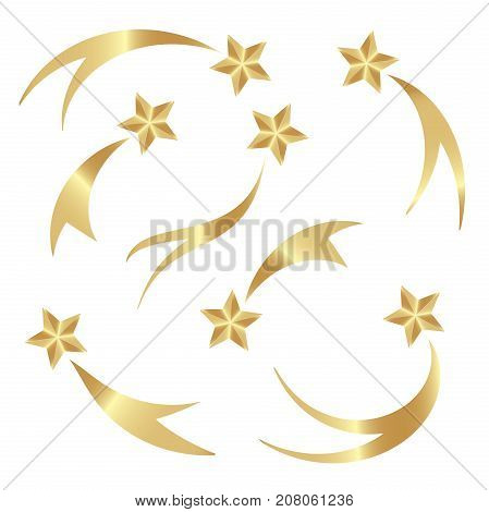 Set falling gold stars vector. Shooting stars isolated white background. Icons of meteorites and comets