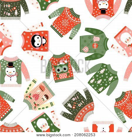 Cute vector Christmas seamless pattern with ugly fun sweaters with kawaii illustrations for textile paper wrapping and greeting cards