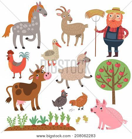Farmer and animals. Farm. Set of vector characters