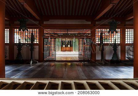 Shrine with hall and columns at Itsukushima, Miyajima, Japan.
