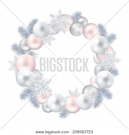 A festive wreath of Christmas balls, pine twigs and snow-flakes. Silver and pink. Vector realistic illustration on white background. Eps10. Decoration for new year.