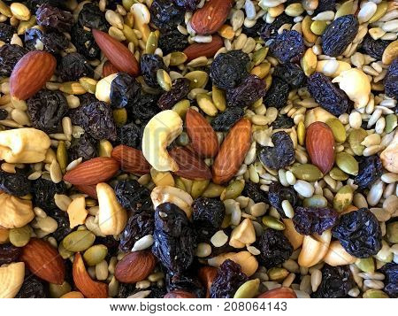 Healthy trails mix background of trail mix