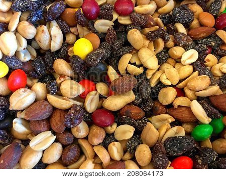 Mountain Mix background of trail mix close up