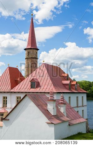 Priory Palace On The Shore Of The Black Lake In Gatchina.