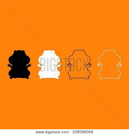 Hamster Silhouette Black And White Set Icon.