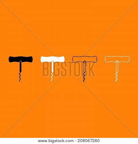 Corkscrew Black And White Set Icon.
