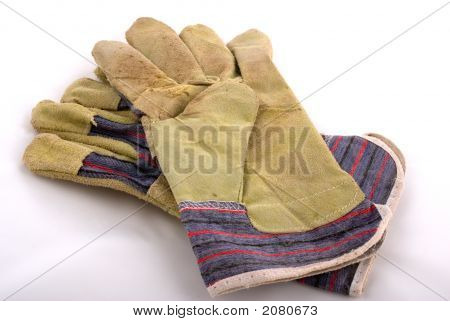 Leather Working Gloves On White Background