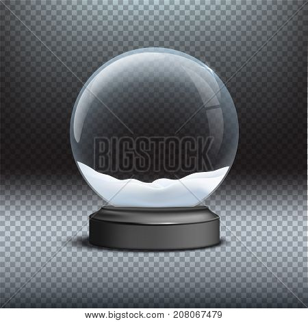 Snow globe template. Empty glass snow globe on transparent background. Vector Christmas and New Year design element