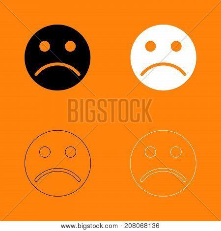 Sad Emoticon Set Black And White Icon .