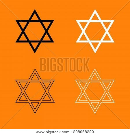 Jewish Star Of David Set Black And White Icon .
