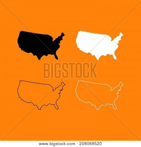 Map Of America Set Black And White Icon .