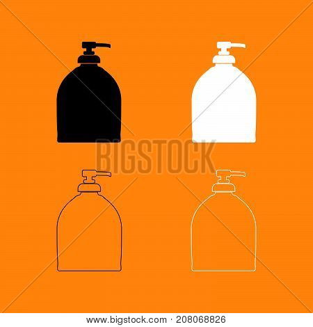 Bottle Of Liquid Soap Set Black And White Icon .