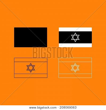 Flag Of Israel Set Black And White Icon .