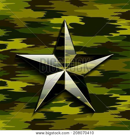 Illustration of a camouflage military star on a camouflage background.