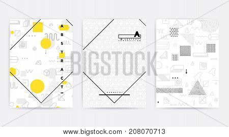 Colorful trend geometric pattern set juxtaposed with bright bold blocks of color zig zags, squiggles, erratic images. Design background elements composition. Magazine, leaflet, billboard