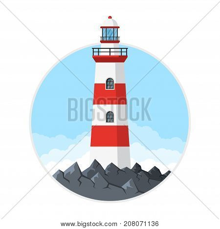 Picture of lighthouse with rocks and clouds, flat style illustration