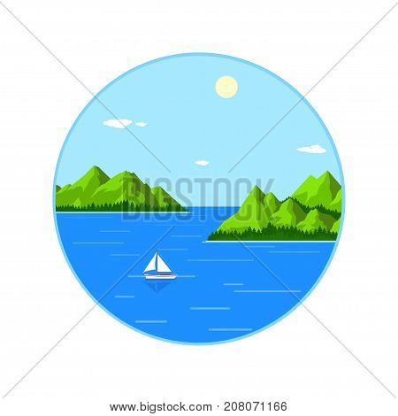 Picture of sea landscape with mountains and yacht, vacation and travel concept, flat style illustration
