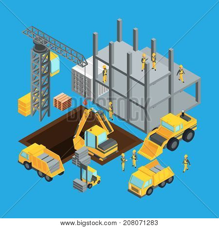 Building construction stage. Isometric transport for construct. Vector illustrations set. Construction stage building with crane