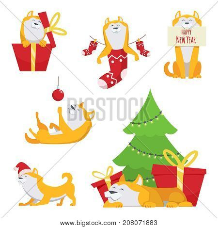 Character design in cartoon style. Yellow dog in action poses. Symbol of 2018 year. Cartoon character animal dog to holiday new year illustration