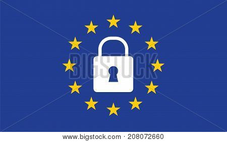 General Data Protection Regulation (GDPR) on european union flag with padlock