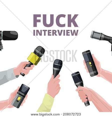 Illustrations for daily news. Hands holding microphones. Interview of microphone banner, journalism and report vector