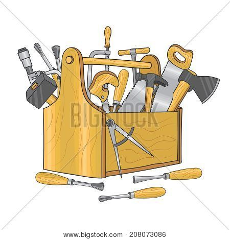 Wooden box for carpentry tools. Hand drawn vector illustration. Toolbox wooden with saw and hardware hammer