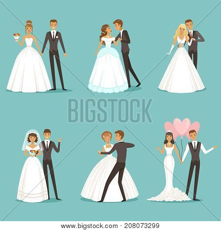 Beautiful wedding couple characters. Bride and groom. Wedding bride and groom couple love, vector illustration