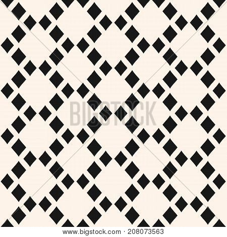 Abstract geometric seamless pattern with rhombuses in staggered grid. Vector geometrical texture, argyle pattern. Stylish monochrome background, repeat tiles. Design for furniture. Ornamental background. Geometric background. Seamless background.