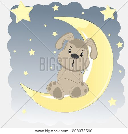 Happy dog who sits on the moon. Greeting card.
