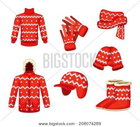 Clothes at christmas holiday style. Vector illustrations for winter season. Scarf and sweater clothing, winter wear mitten knitted