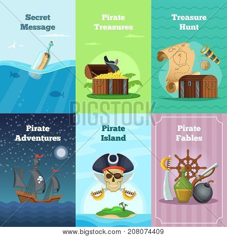 Different invitation cards of pirate theme. Vector illustrations with place for your text. Pirate card hunt treasure and adventure