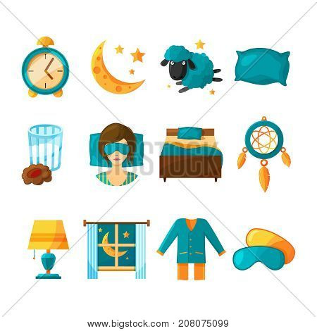 Conceptual icon set of sleeping. Vector symbols of healthy sleep collection icons. Illustration of dream and moon