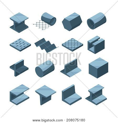 Industrial icons set of metallurgic production. Isometric pictures of steel or iron pipes. Metal pipe and production steel, construction tube and profile. Vector illustration