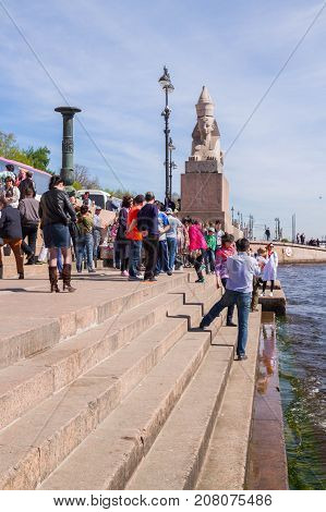 Famous Place With Sphinxes Near Blagoveshchensky Bridge In Sunny Day.